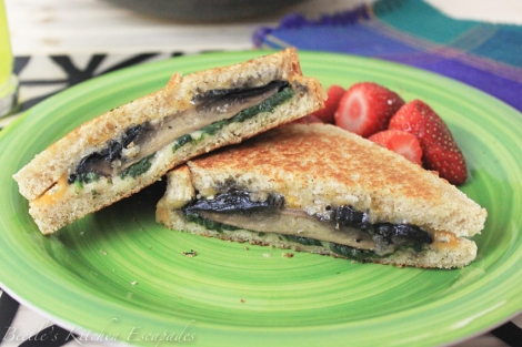 Roasted Portobello & Spinach Grilled Cheese Sandwich